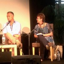 Stan Grant and Rose on stage